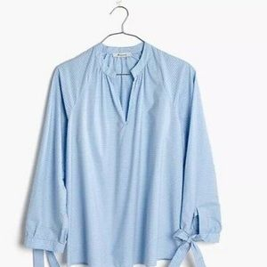 MADEWELL Striped Tie-Sleeve Popover top Sz S NWOT